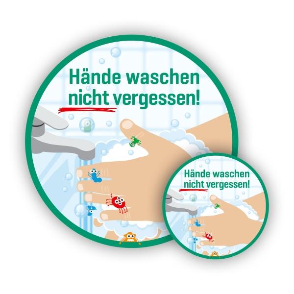 Aufkleber: Hände waschen nicht vergessen!