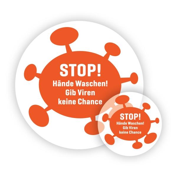 Aufkleber: Stop! Hände waschen! Gib Viren keine Chance