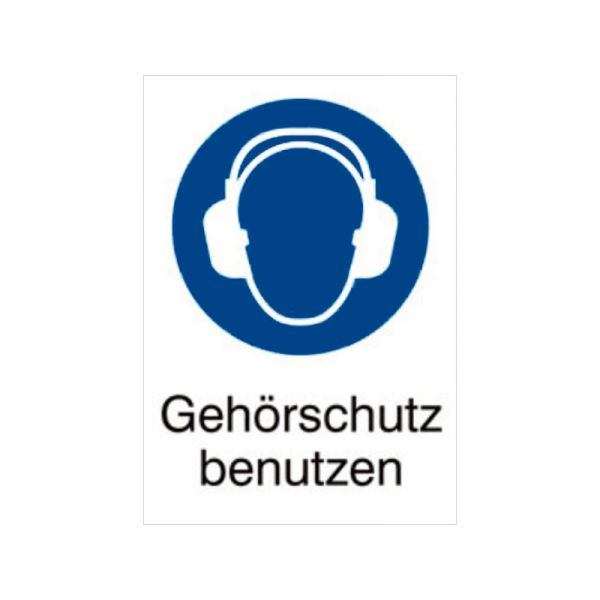 Gebotszeichen: Gehörschutz benutzen mit Text