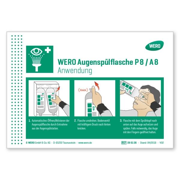 WERO Schild: Anwendung Augenspülflasche Modell P 8 / A 8