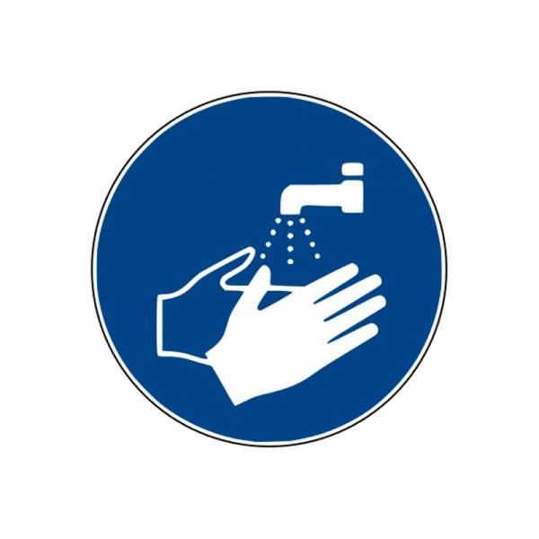 Gebotszeichen: Hände waschen