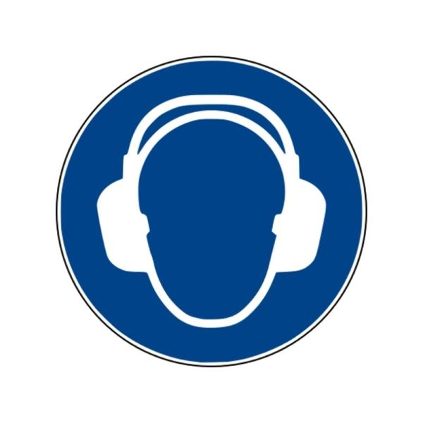 Gebotszeichen Gehörschutz benutzen Folie selbstklebend 200 mm