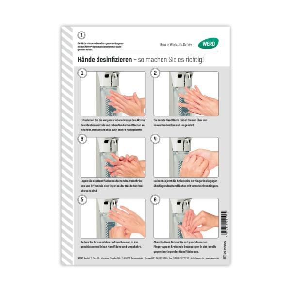 Hinweisschild: Hände desinfizieren - so machen Sie es richtig!