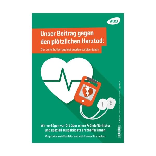 Hinweisschild: Defibrillator vorhanden