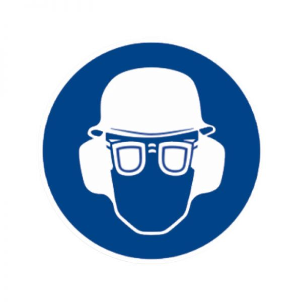 Gebotszeichen: Gehörschutz, Augenschutz und Kopfschutz benutzen