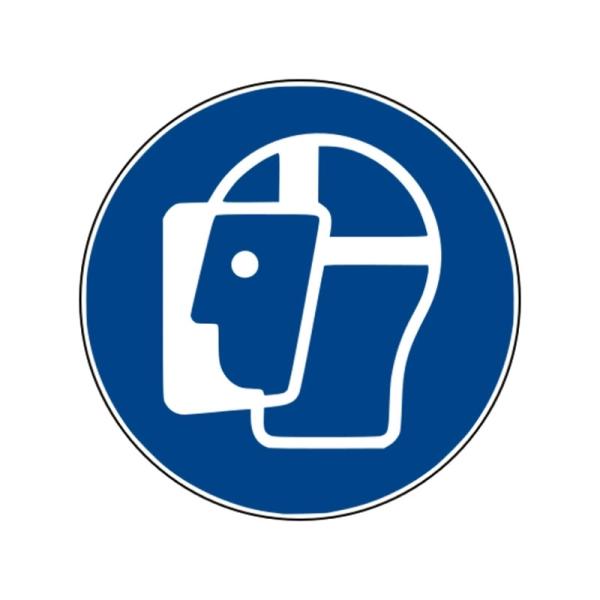 Gebotszeichen: Gesichtsschutz benutzen