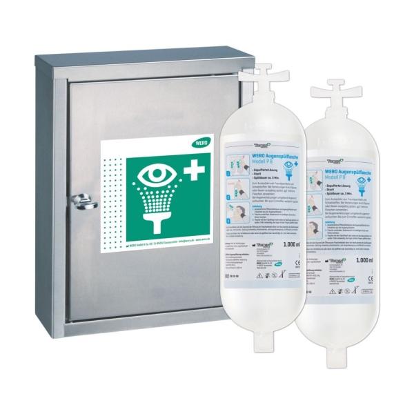 WERO Augenspülstation V4A mit 2 Augenspülflaschen P 8 (gepufferte Lösung, steril)