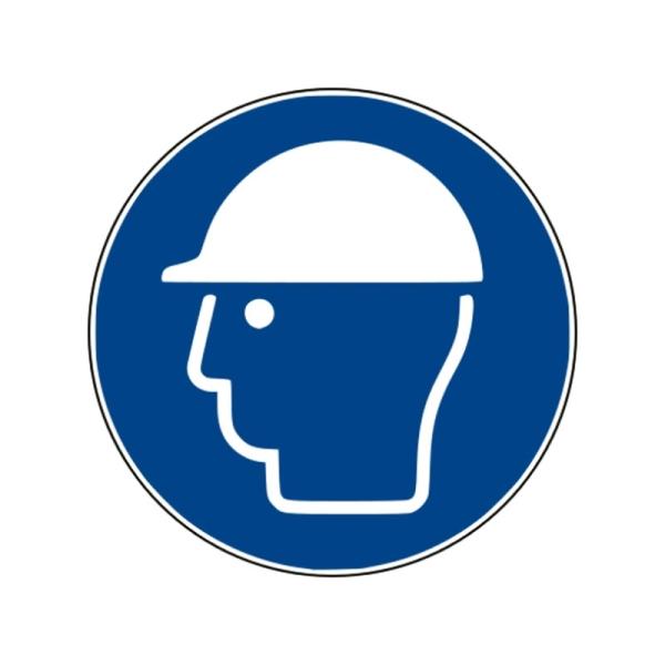 Gebotszeichen: Kopfschutz benutzen