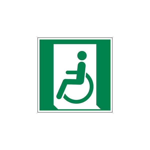 Rettungszeichen: Notausgang für nicht gehfähige oder gehbeeinträchtigte Personen