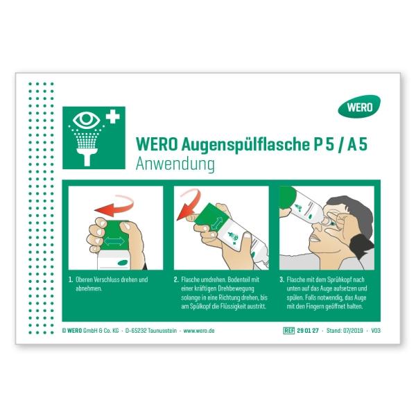 WERO Schild: Anwendung Augenspülflasche P 5 / A 5