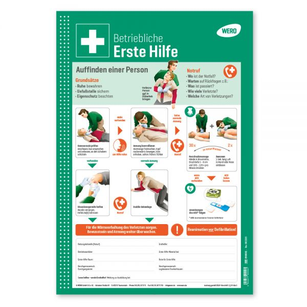 WERO Schild: Betriebliche Erste Hilfe