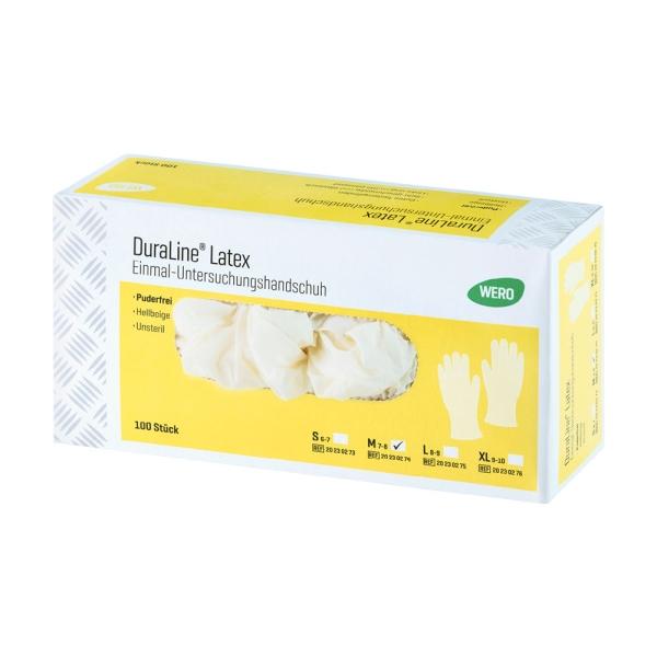 Latex Einmalhandschuhe WERO DuraLine®, puderfrei, 100 Stk