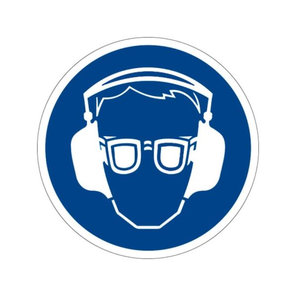 Gebotszeichen: Augen- und Gehörschutz benutzen