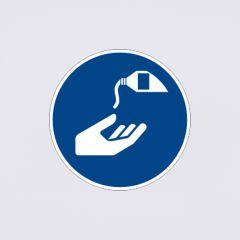 Gebotszeichen: Hautschutzmittel benutzen
